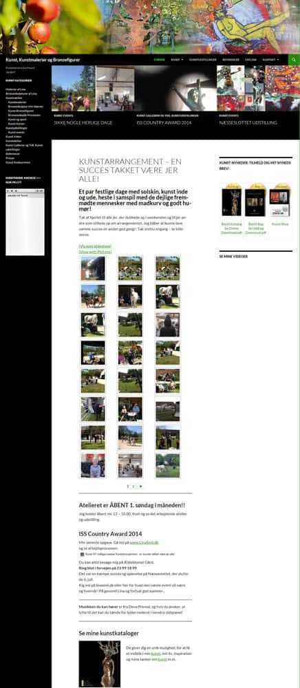 Wordpress hjemmeside, Linaart.dk før bizdoktor re-design