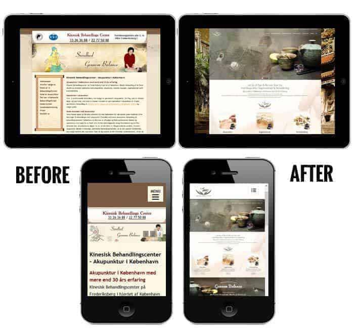 Før og efter billeder på mobil og ipad