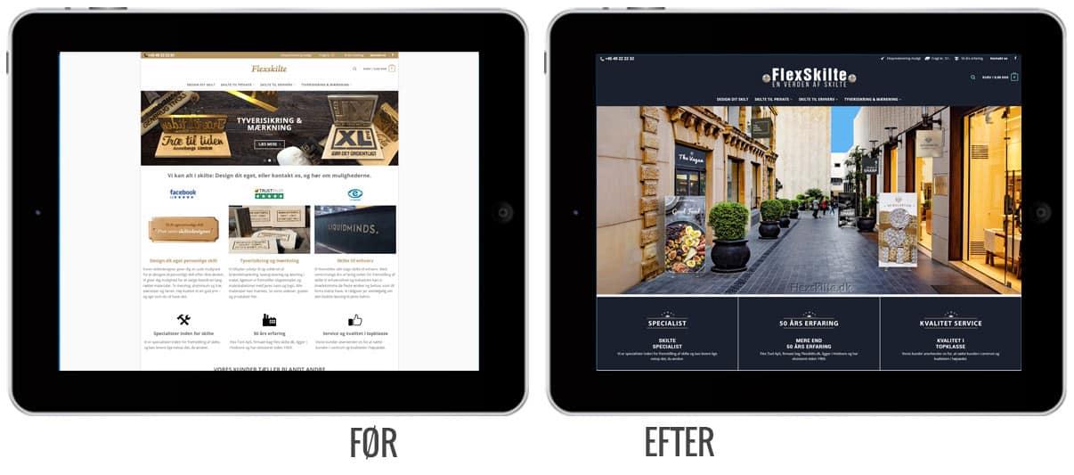 Flexskilte før og efter hjemmeside screenshots