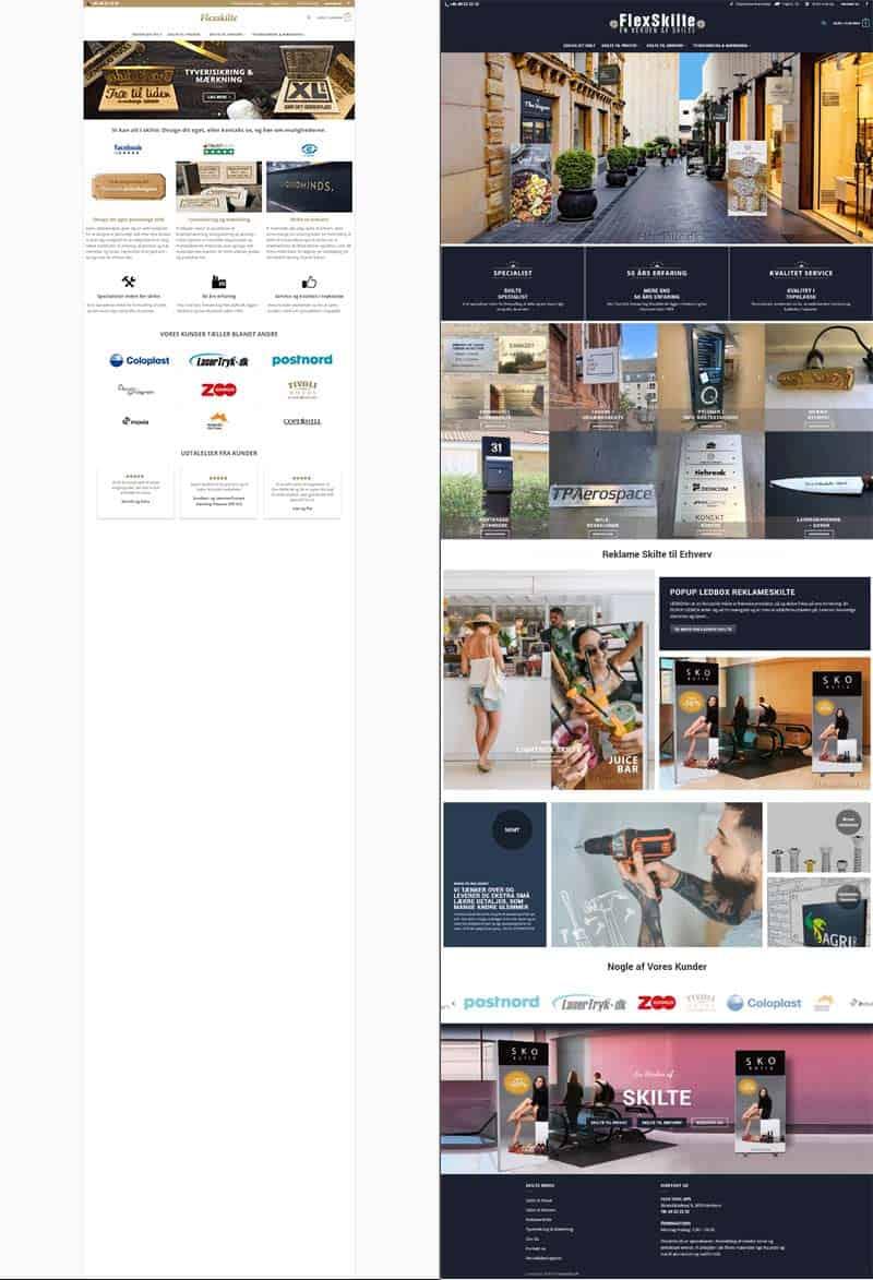Før og efter forside screenshot fra Flexskilte