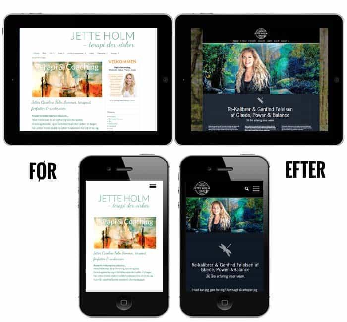 Hjemmeside ipad og mobil vis før og efter billeder