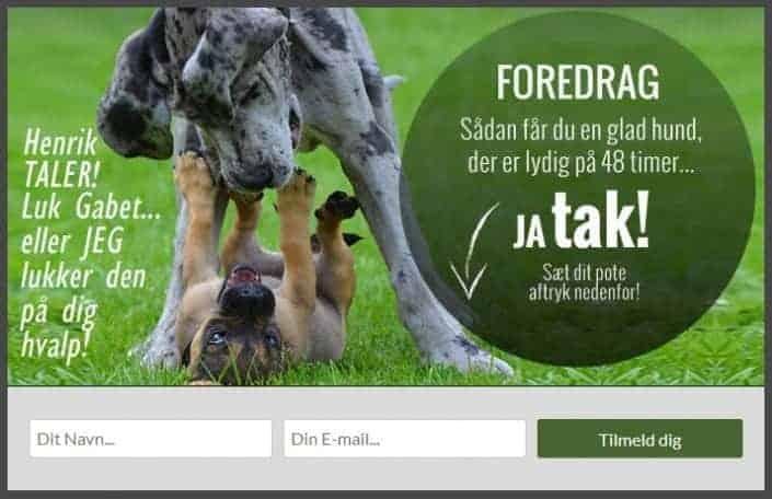 Popup optin forms til DogWhisperer.dk