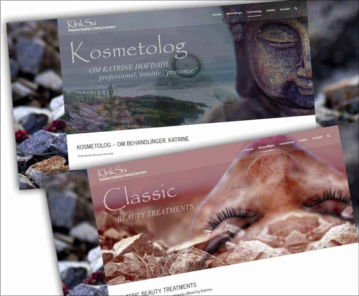 Klinik Sui kosmetolog, hudpleje - hjemmeside sider