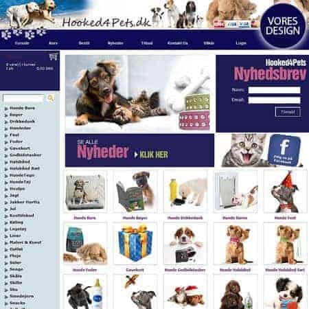 Dandomain webshop design - Hooked4pets.dk