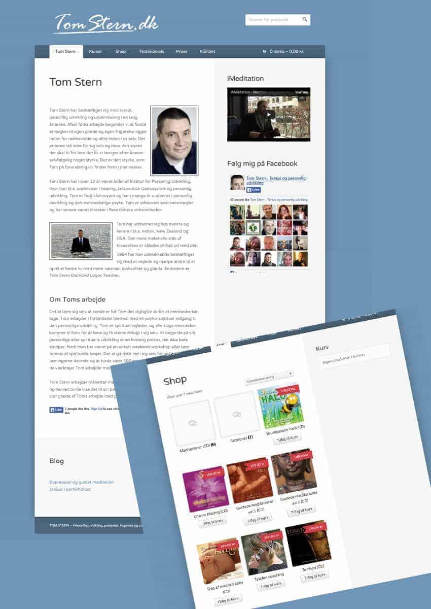Tom Stern wordpress forside - Før
