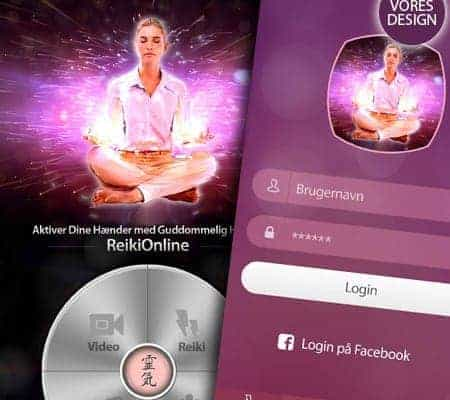 Nyt ReikiOnline app design, skin change fra BizDoktor