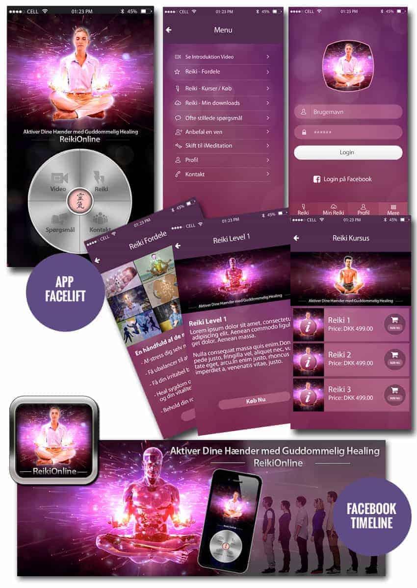Ny Reikionline app grafik design fra BizDoktor